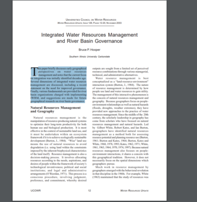 IWRM and RIver Basin Organisation